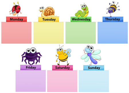 Days of the week banner template with colorful bugs illustration
