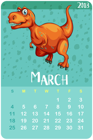 Calendar template for March with t-rex illustration