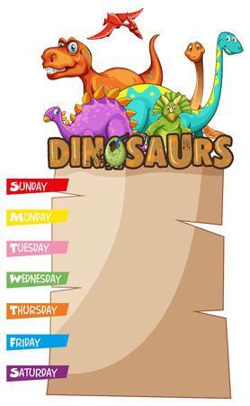 Weekly planner with dinosaurs in background illustration