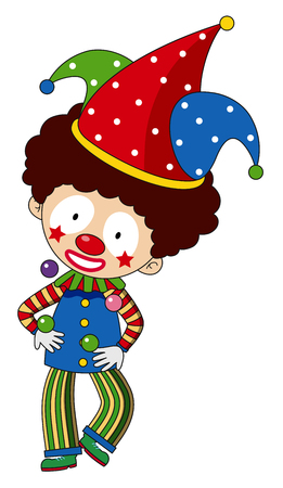Happy clown with colorful hat illustration