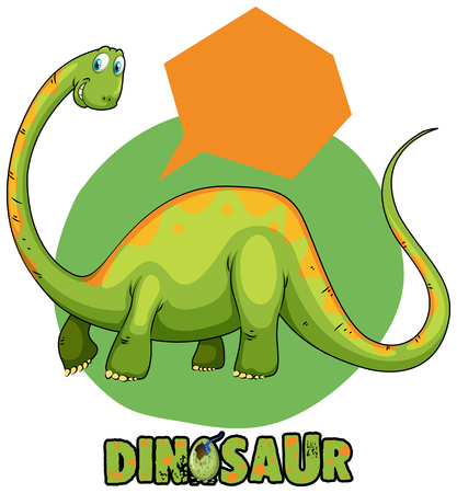 Green brachiosaurus and speech bubble template illustration