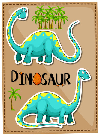 Blue brachiosaurus on poster illustration