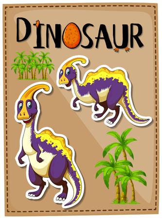 Dinosaur poster with two parasaurolophus illustration