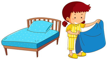 흰색 배경 그림에 침대를 만드는 소녀 일러스트