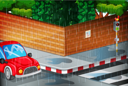 Scene with street in the rain illustration