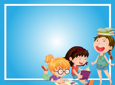 Border template with three girls reading book illustration