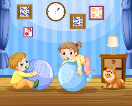 Due bambini sull'illustrazione delle grandi palle Archivio Fotografico - 94881186