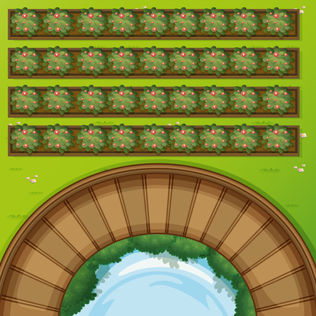 Top view of park with flowerbeds illustration