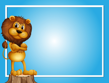 Blue background template with lion on log illustration