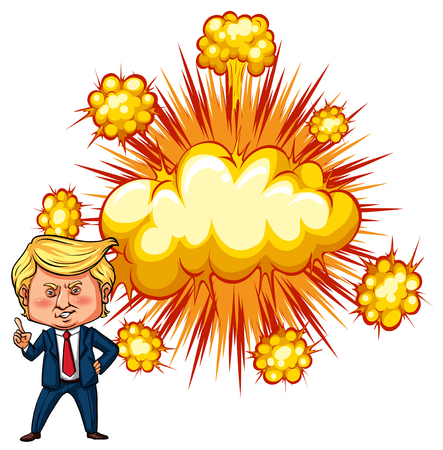 American president Trump with explode background illustration Illustration