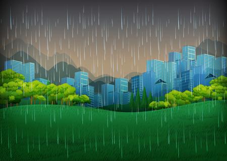 Nature scene with rainy day in city illustration Stock Illustratie