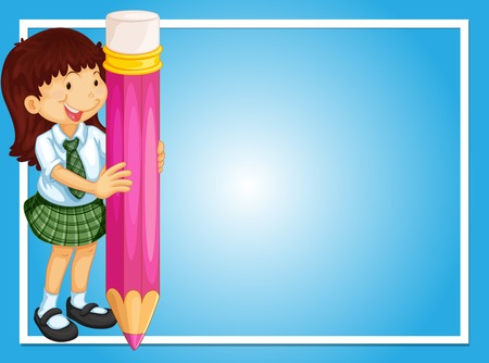 Border template with girl and pink pencil illustration Vectores