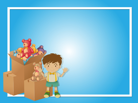 Border template with boy and toys illustration