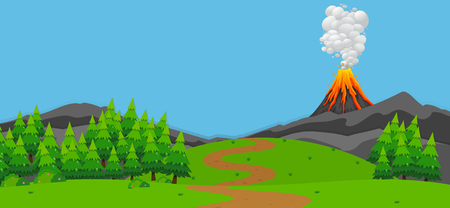 Background scene with volcano and forest illustration
