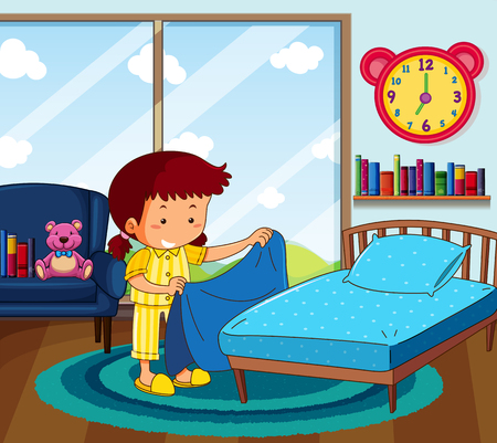 Girl in yellow pajamas making bed in bedroom illustration