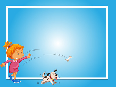 Border template with girl and dog illustration