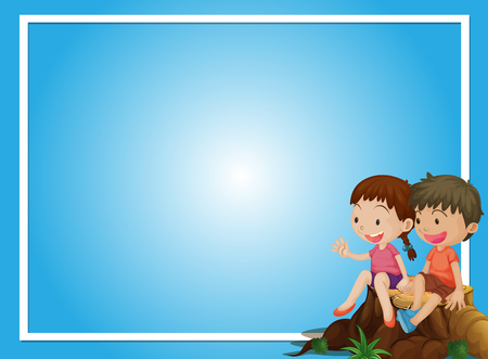 Blue background template with boy and girl on log illustration Ilustração