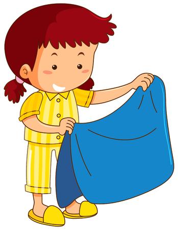 Girl and blue blanket illustration