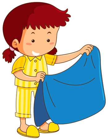 Girl and blue blanket illustration 免版税图像 - 94586456