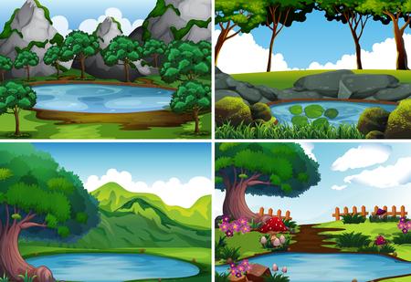Cztery sceny w tle ze stawem na ilustracji w parku Ilustracje wektorowe