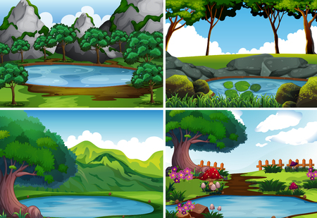 Four background scenes with pond in the park illustration Vectores