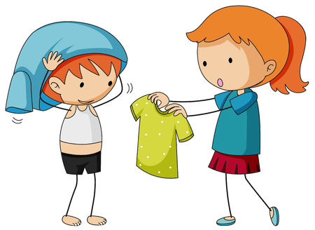 Sister helping brother getting dressed illustration