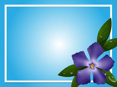 Border template with blue periwinkle flower illustration Illustration