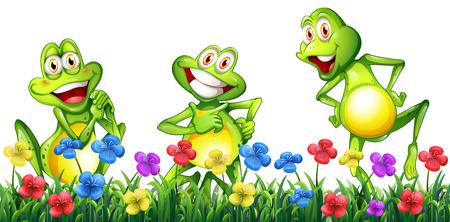Three happy frogs in flower garden illustration Иллюстрация