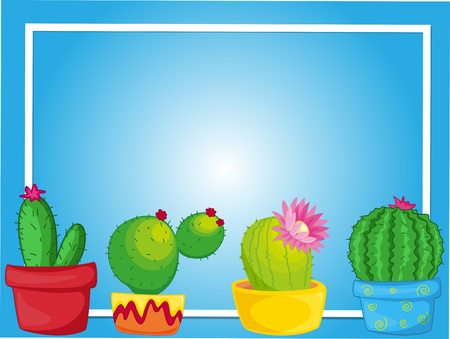 Border template with cactus in pots illustration Illustration