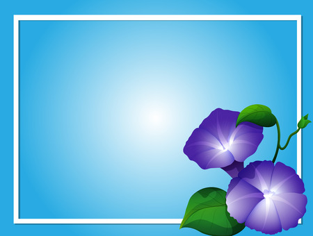 Blue background template with morning glory flowers illustration 일러스트