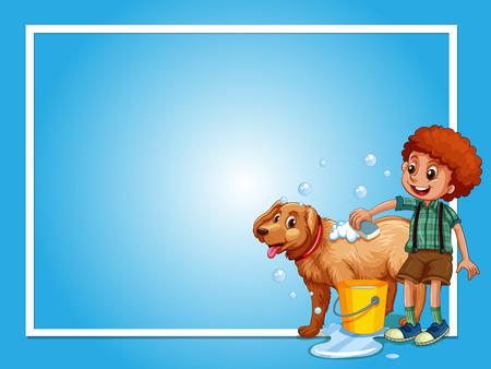 Border template with boy washing dog illustration