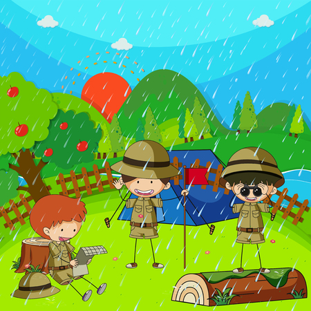 Children camping out on rainy day illustration