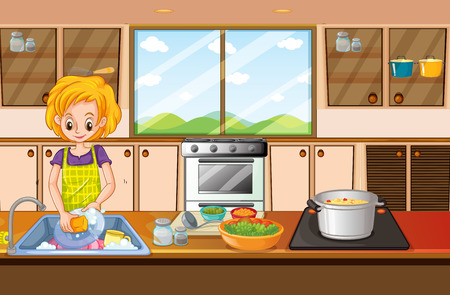 Woman doing dishes in kitchen illustration Illustration