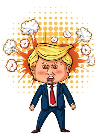 Character sketch of American president Trump illustration Vettoriali