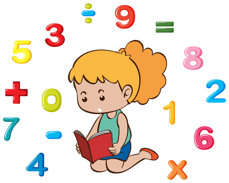 Little girl and many numbers illustration