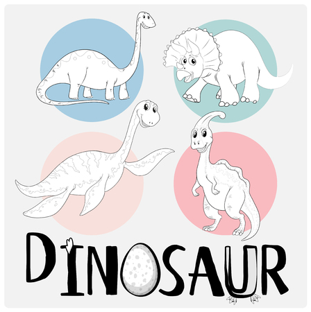 Dinosaurs in four different types illustration