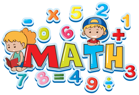 Font design for word math with many numbers and kids illustration Vectores