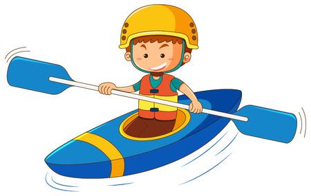 Boy in blue canoe illustration