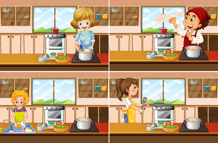 Four kitchen scenes with man and woman cooking illustration