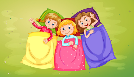 Three girls sleeping on green grass illustration Illustration