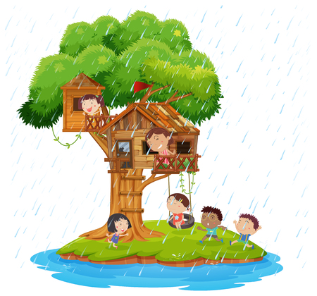 Children playing in the treehouse on island  illustration Illustration