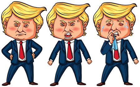 Three actions of US president Trump illustration Illustration