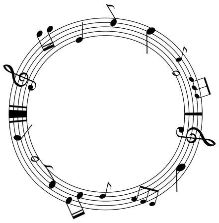 Round frame template with music notes on scales illustration