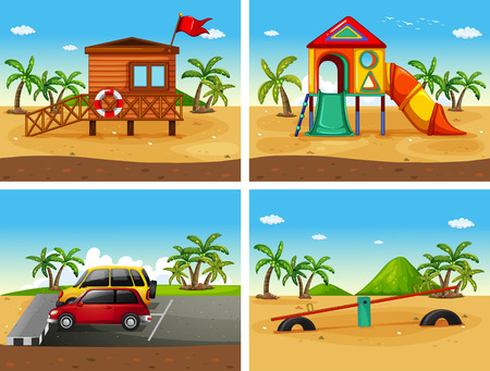 Four beach scenes with different playground and parking illustration
