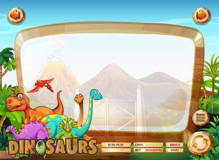 Border template with many dinosaur illustration Illustration