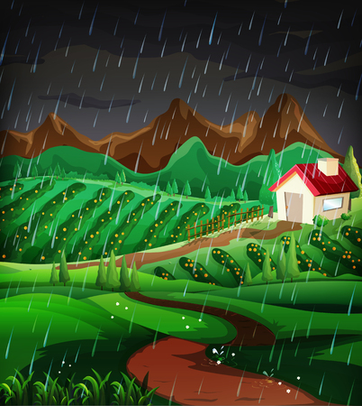 Nature scene with raining in the hillside illustration Çizim