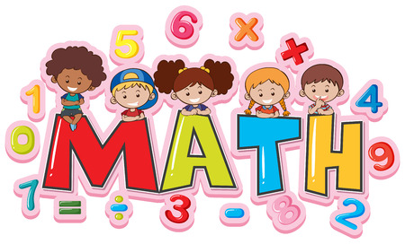 Font design for word math with happy kids illustration