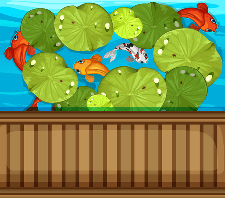 Many fish swimming in the pond illustration