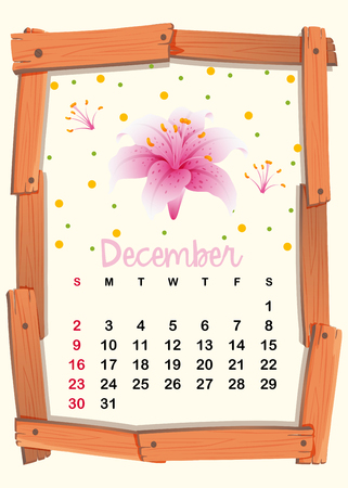 Calendar template for December with pink lily illustration Illustration