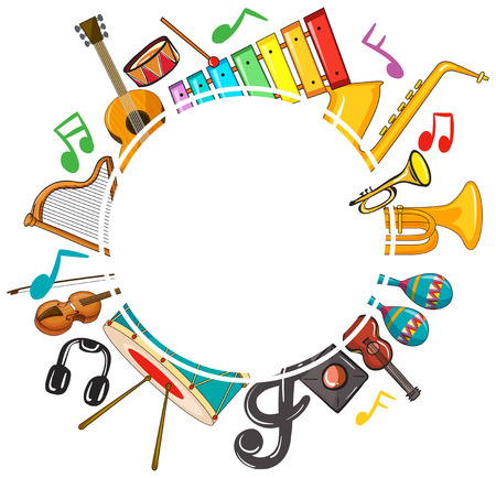 Border template with musicnotes and instruments illustration